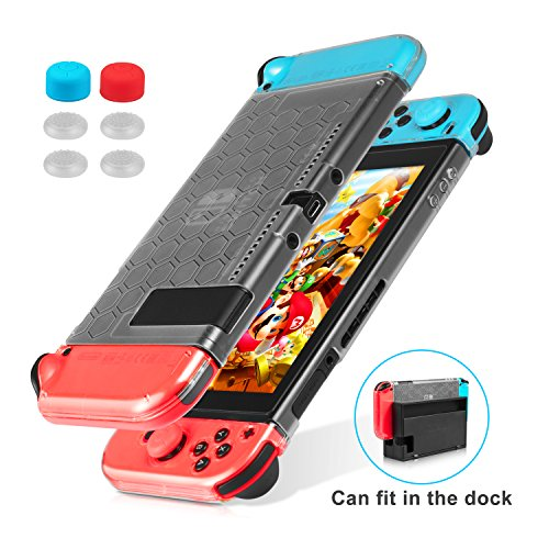 Nintendo Switch Case, Keten Dockable Clear Cover Case, Upgraded Ultra-Thin Anti-Scratch & Shock-Absorption for Nintendo Switch and Joy-Con Controllers with 6pcs Thumb Grips Caps