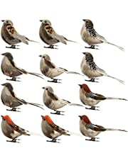 2019 New-Artificial Birds,12PC/Set Realistic Feather Birds Artificial Foam Mini Birds on Clip Christmas Tree Decoration for DIY Crafts Garden Bird Ornaments Home Party Decorations