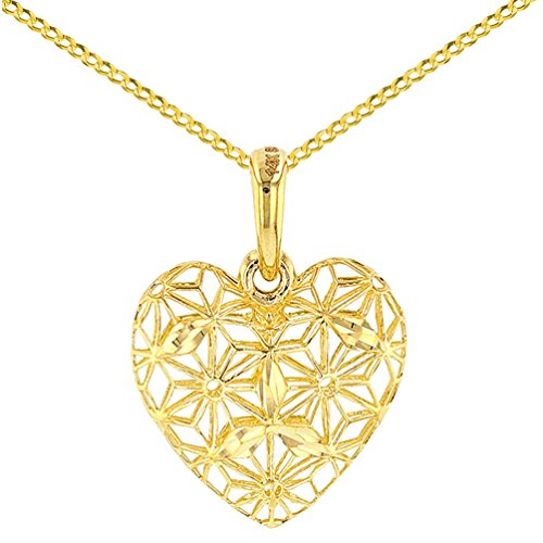 Textured 14K Yellow Gold 3D Heart Charm with Filigree Pendant Necklace, (14k Gold 3d Filigree)