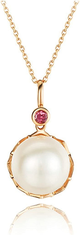 Daesar Collar 18K Oro Collar Para Mujer Collar Perla Collar Colgante Oro Rosa Cadena Longitud 40+5CM
