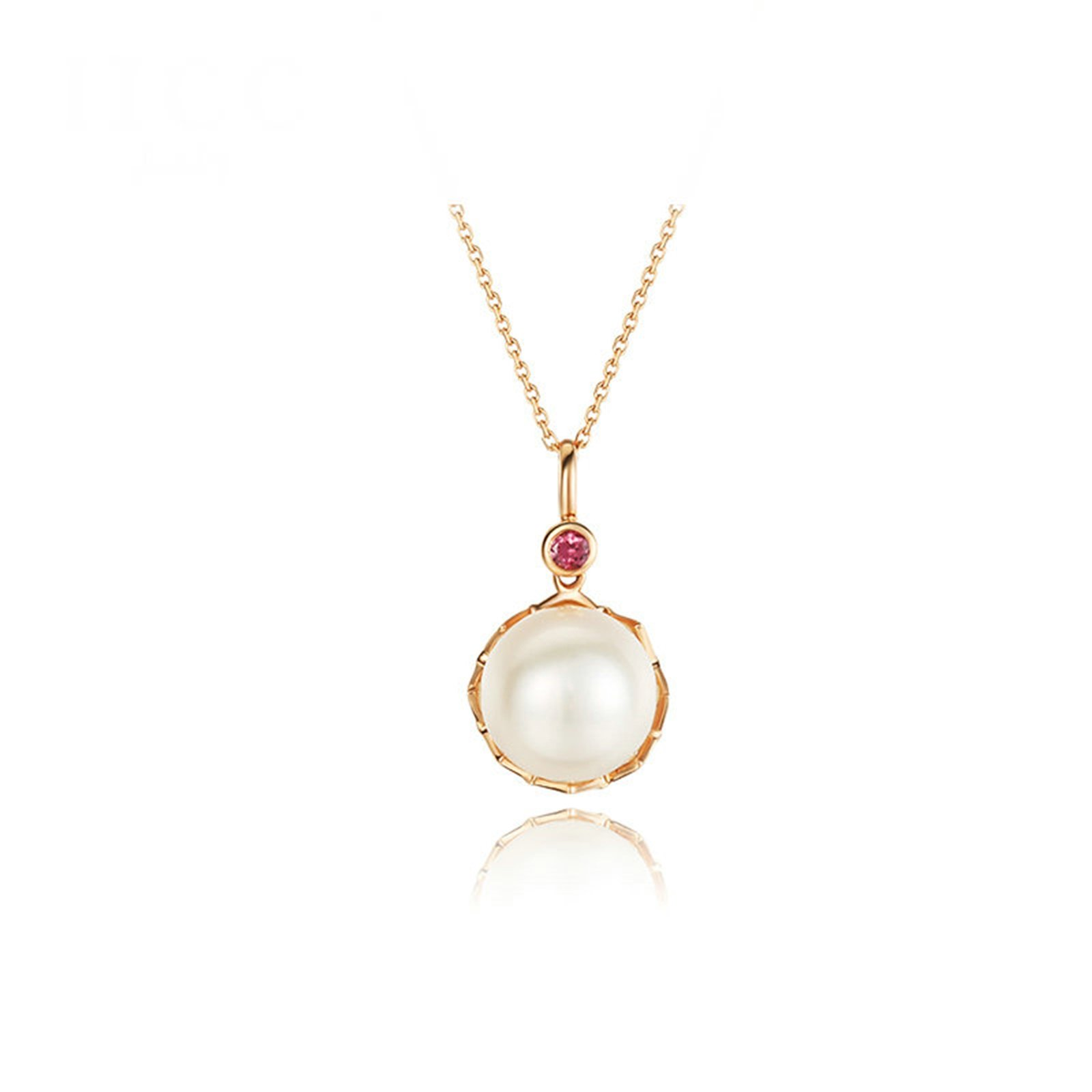 Daesar Elegant 18K Gold Necklace For Women Pearl Pendant Necklace Rose Gold Chain Length: 40+5CM