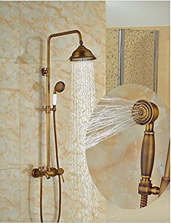 Gowe Modern Antique Brass Rain Shower Head Faucet Valve Mixer Tap W