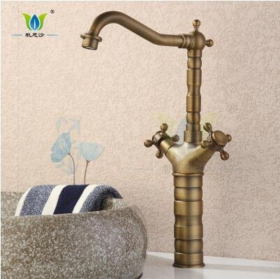 Commercial Single Lever Pull Down Kitchen Sink Faucet Brass Constructed Polished Copper Wash Basin Faucet Sink Antique Faucet Kitchen Hot and Cold Faucet Basin Pot Basin Faucet, A