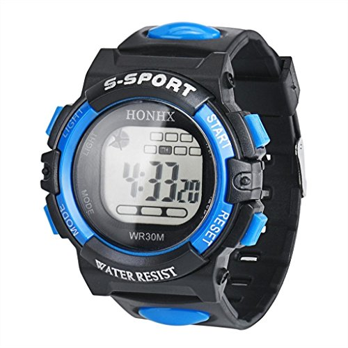 Ecosin® LED Digital Electronic Multifunction Waterproof Child Boy's Girl's Silicone Sport Watch Acrylic (D)