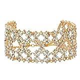 Gabrine Womens Girls Multilayer Hollow Collar Choker Short Necklace Fashion Shiny Rhinestone for Wedding Bridal Party Prom
