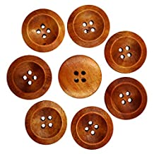 Pack of 50 Vintage Wooden Round Buttons for Sewing Scrapbooking Craft Coffee 25mm