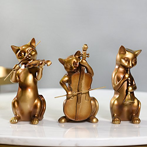 Decomest European Modern Animal Band, Cat Ornament, Home Decoration, Wine Cabinet, Tv Cabinet, Personal Display, Arts and Crafts, Antique Gold, Three Cat Bands,Antique Gold Three Cat Bandsmodern Cl