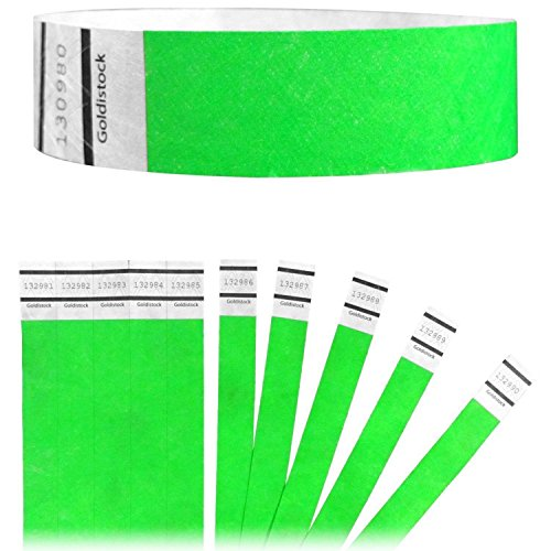 Goldistock Original Series - 3/4 Tyvek Wristbands Vibrant Neon Green 150 Count - Event Identification Bands (Paper - Like Texture)
