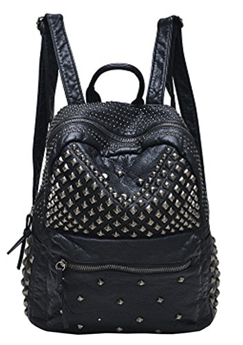 Sannea Womens Studded Black Leather Backpack Casual Pack Fashion School Bags for Girls -