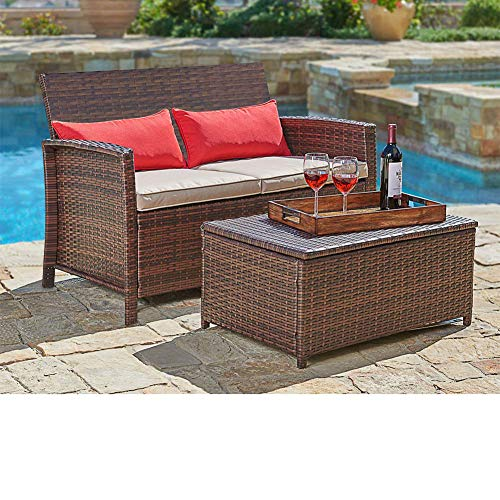 (SUNCROWN Outdoor Furniture Wicker Love-seat with Coffee Table (2-Piece Set) Built-in Storage Bin | Comfortable, All-Weather Cushions | Patio, Backyard, Porch, Garden, Poolside)