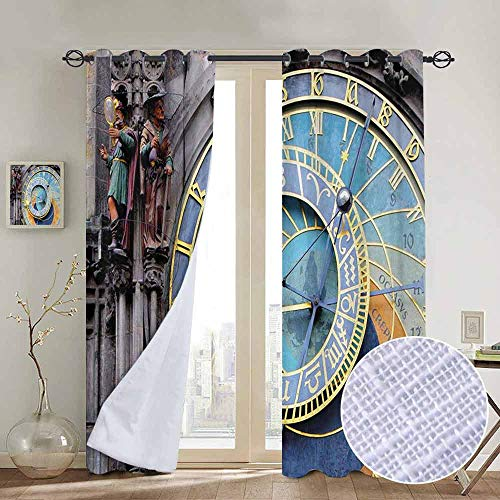 NUOMANAN Customized Curtains Clock,Prague Astronomical Clock in The Old Town an European Medieval Landmark of City,Blue and Yellow,Blackout Thermal Insulated,Grommet Curtain Panel 1 Pair120 x96