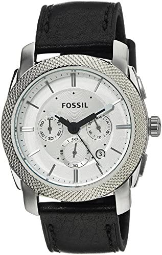 Fossil Men s FS5038 Machine Stainless Steel Watch with Black Leather Band
