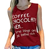 Summer Blouses for Women Fashion 2019 Letter Print Slim Tank Sleeveless Fitness Vest Casual Cotton O-Neck Top Wine