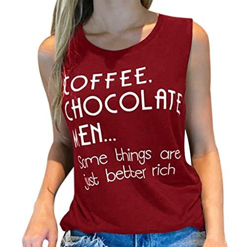 VLDO Women Letter Print Slim Tank Sleeveless Fitness Vest Casual Cotton O-Neck Top(XXL,Wine) ()