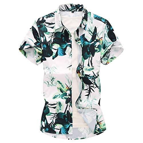 Serzul Shirt for Men,Hawaiian Holiday Beach Print Turn-Down Collar Shirt Quick Dry Personality Top Blouse(Big&Tall Size)
