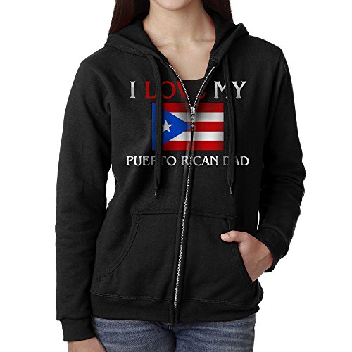 SHIRT-4 I Love My Puerto Rican Dad Casual Womens Full-Zip Sweatshirt Hoodie (Dad Womens Zip Hoodie)