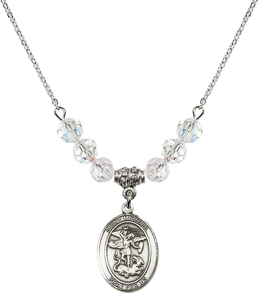 18-Inch Rhodium Plated Necklace with 6mm Crystal Birthstone Beads and Sterling Silver Saint Michael the Archangel Charm.