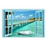 Window to Paradise Beach, Fantastic Canvas Wall Art, 5 Stars Gift Startonight 31.5 X 47.2 Inch