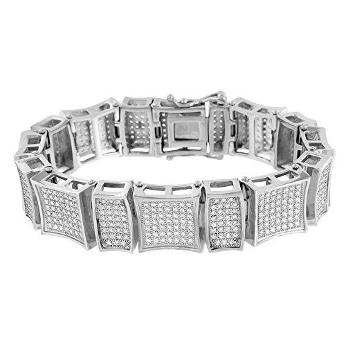 Stainless Steel Mens Bracelet Kite Design Link White Gold Finish Lab Diamonds