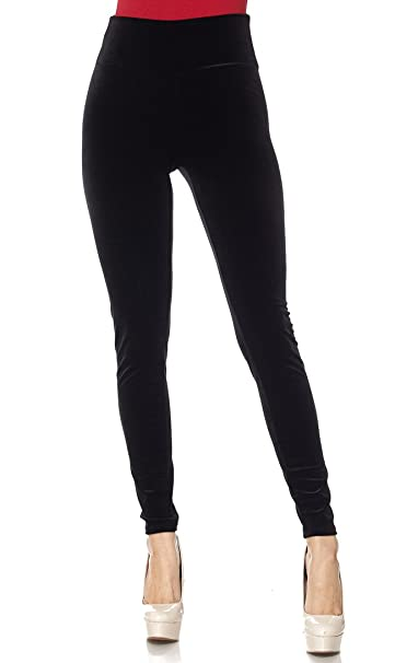 a1a2135d56e High Waisted Ultra Soft Stretchy Velvet Leggings in Black Burgundy ...