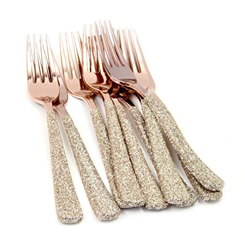 Plastic Fork Champagne - 24 pc. Rose Gold Plastic with White Gold Glitter Heavyweight Disposable Fork