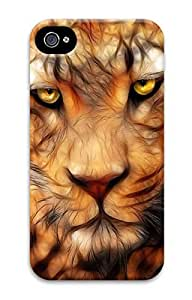iPhone 4 Case, Customized Protective Tige Tattoo Hard 3D Case Cover for iPhone 4 4s