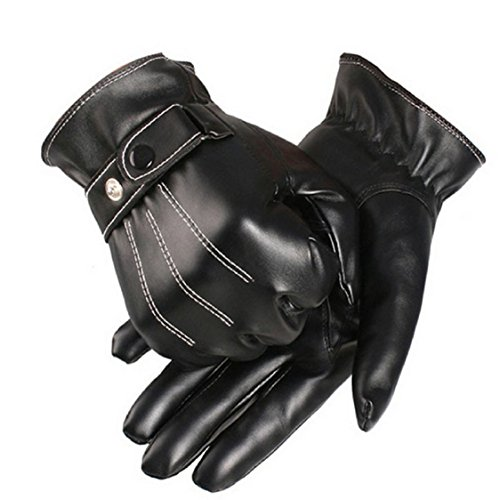 Ikevan Mens Luxurious PU Leather Gloves Outdoor Driving Warm Gloves Cashmere Mittens Autumn Winter (Black)