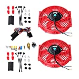 Maxon Auto Corporation Red 2X 10 Universal Electric Cooling Fan Push Pull Electric Radiator Slim Fan + Thermostat Relay + Mounting Kits