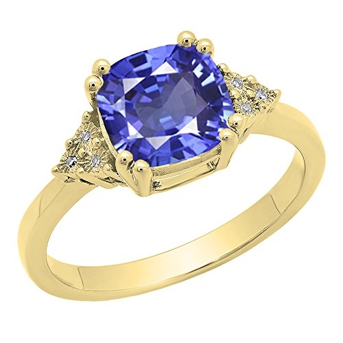 Dazzlingrock Collection 14K 8 MM Cushion Tanzanite & Round White Diamond Ladies Engagement Ring, Yellow Gold, Size 8