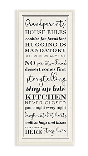 The Stupell Home Decor Collection Grandparents House Rules Wall Plaque Art, 7 x 17, Multi-Color (Best Christmas Gifts For Grandparents)