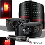 08 dodge ram smoked headlights - For 2007-2009 Dodge Ram 1500/2500/3500 Darkside Black Smoked Headlights + LED Tail Lights + LED 3rd Brake Lamp 2008