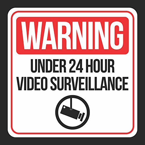 Aluminum Warning Under 24 Hour Video Surveillance Print Red White Black Camera Picture Window School Public, 12x12