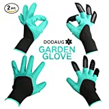 Dodaug Garden Gloves with Clawed Fingertips Digging plating Gardening Tools for Womens mens-2 Packed