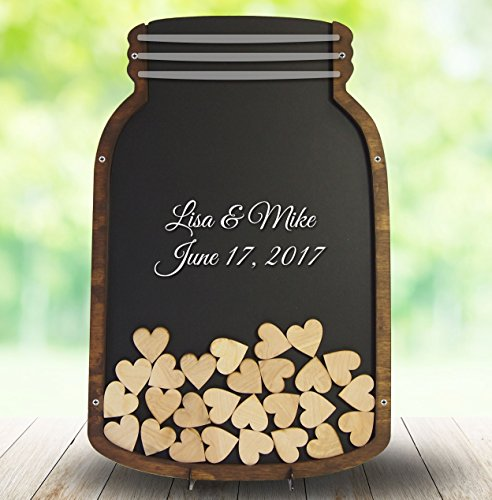 Mason Jar Wedding Guest Book Alternative – Drop box with Wooden Hearts