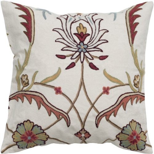 Rizzy Home T05030 Crewel Embroidery Decorative Pillow, 20 by 20-Inch, Off (Cotton Crewel Duvet)