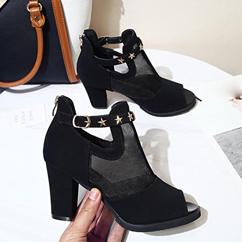 hunpta Summer Mesh Sandals Decoration Peep Toe Shoes Women Mid HeelFish Mouth Sandals Black XgZkD5zLLF