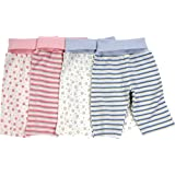 Under The Nile 100% Organic Egyptian Cotton Baby Roll Top Trousers Pink Stripe 0-3 Months