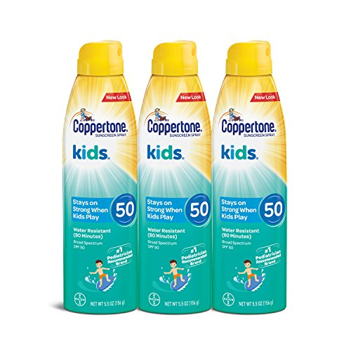 Coppertone KIDS Sunscreen Continuous Spray SPF 50 (5.5-Ounce, Pack of 3) Packaging may vary
