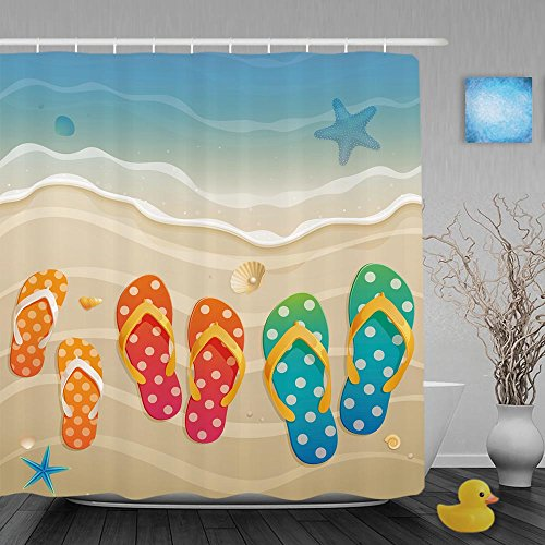 Tendy Holiday Greeting with Family Flip-Flops Decorative Polyester Shower Curtain 66x72 Inch