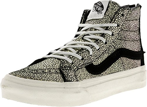 Vans Unisex Sk8-Hi Slim Zip Gold Dots Skate Shoes-Gold/Black-5-Women/3.5-Men by Vans