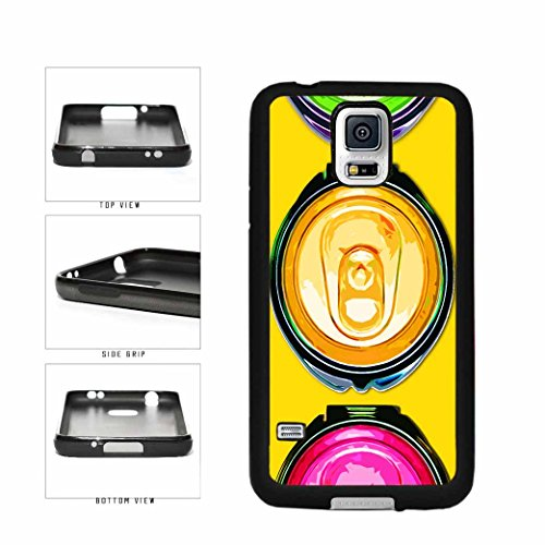 Pop Art Colorful Soda Cans TPU RUBBER Phone Case Back Cover Samsung Galaxy S5 I9600 comes with Security Tag and MyPhone Designs(TM) Cleaning Cloth