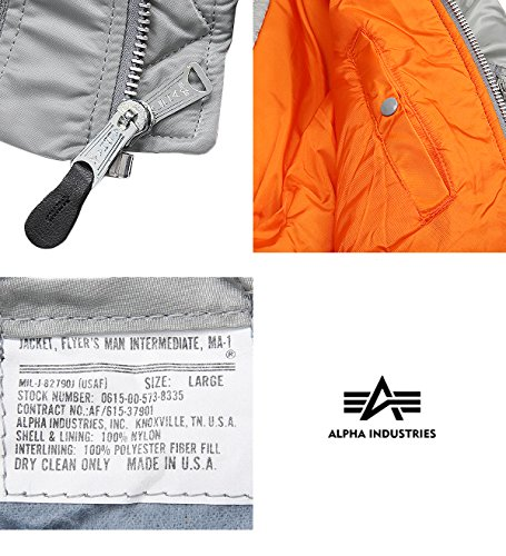 cd716198be8 Amazon.com  Alpha Industries New Made in USA MA-1 US Army Pilot Flight  Military Bomber AF Jacket Silver (2X-Large)  Clothing