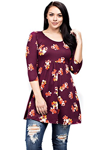 Allora Betsy Red Couture Women's Long Sleeve Knit Tunic Top (BRD900 Burgundy, 2X) (Burg Jersey)
