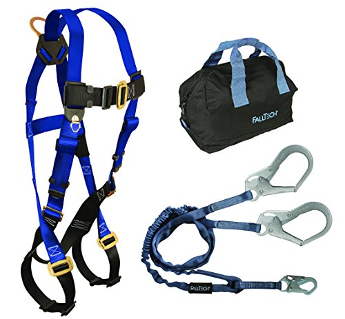 FallTech KIT159Y36P Carry Kit - 7015 Harness, 8259Y3 Lanyard, 5006MP Storage Bag, Blue/Black by FallTech