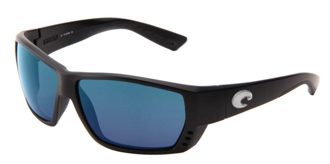 Costa del Mar Tuna Alley Polarized Iridium Wrap Sunglasses, Matte Black, 61.9 mm