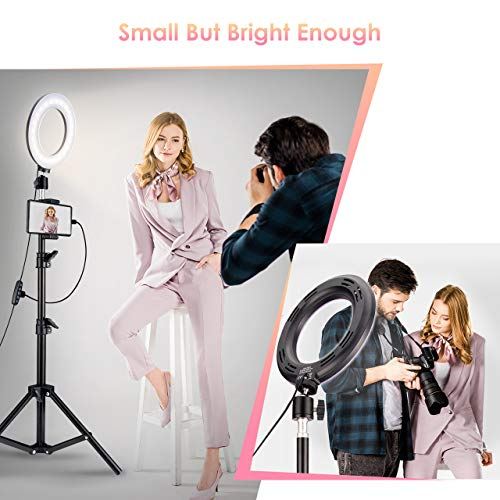 Selfie Ring Light with 2 Tripod Stand & Phone Holder, VicTsing Mini Led Ringlight w/ 5 Modes & Selfie Stick for YouTube Live Stream Makeup Photography