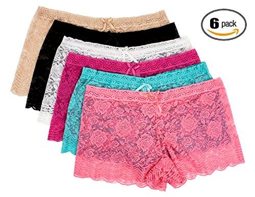 Women's 6 Pack Floral Sheer Full Lace Panties (5XL, Barbra 0604Q)