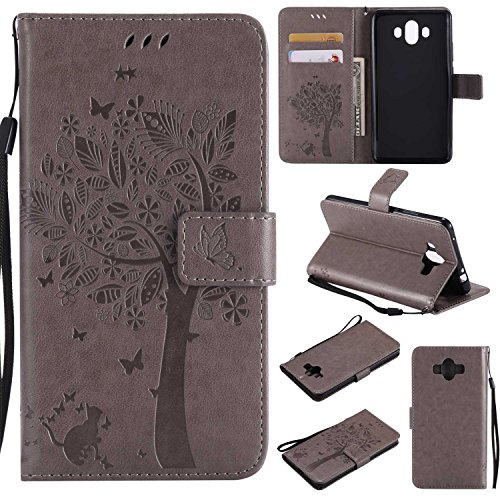 (Huawei Mate 10 Wallet Case, UNEXTATI Leather Flip Cover Case with Kickstand Feature for Huawei Mate 10 (Gray)