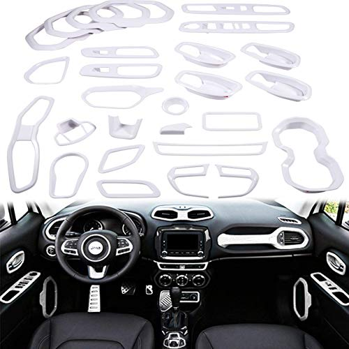 Yoursme White Car Interior Accessories Decoration Cover Trim Kit 31PCS Air Conditioning Vent & Door Speaker & Water Cup Holder & Passenger Side Grab Handle Covers for Jeep Renegade 2015-2018