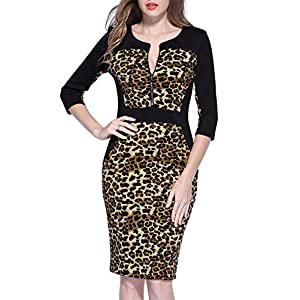 52704cb995 Miusol Women s Official Leopard Optical Illusion Half Sleeve Business Midi  Dress